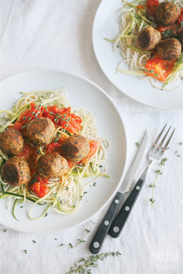 Gluten-free Zucchini Pasta Spaghetti with No-Meat Balls made with Naosap Wild Rice