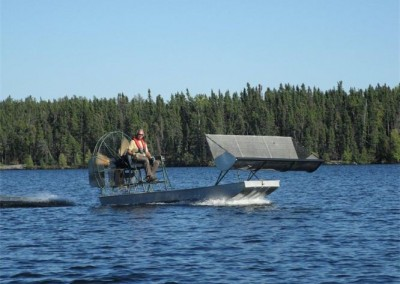 The airboat ready to pick wild rice. We have had some beautiful weather. Picking wild rice in the rain - not so much fun!